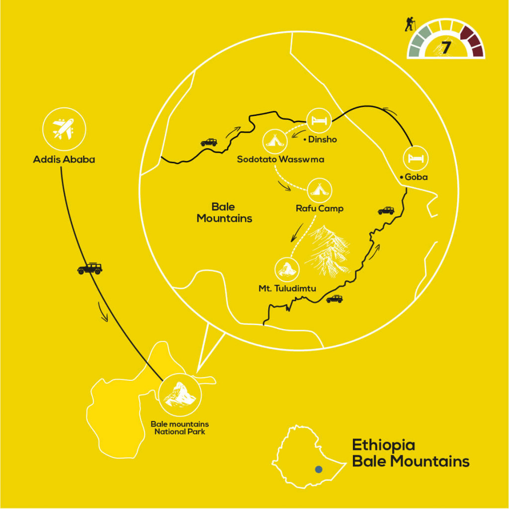 Wolves of the Bale Mountains, YellowWood Adventures Map