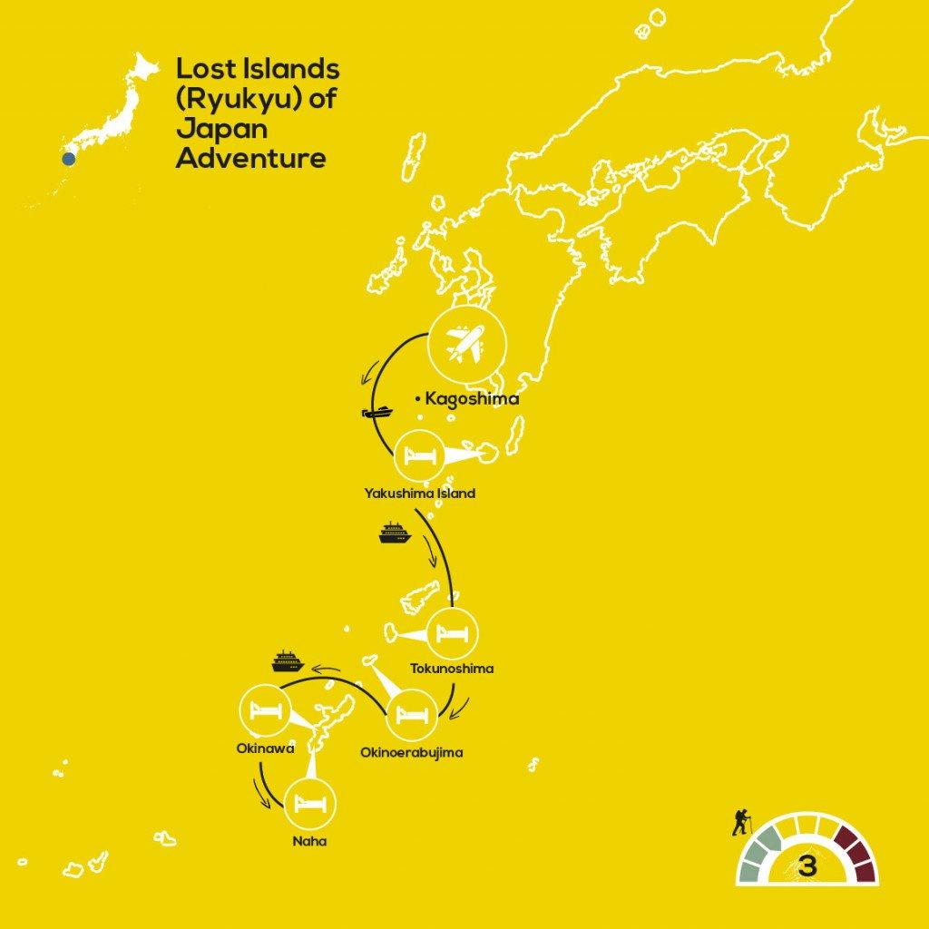 YellowWood Map: Lost Islands (Ryukyu) of Japan Adventure