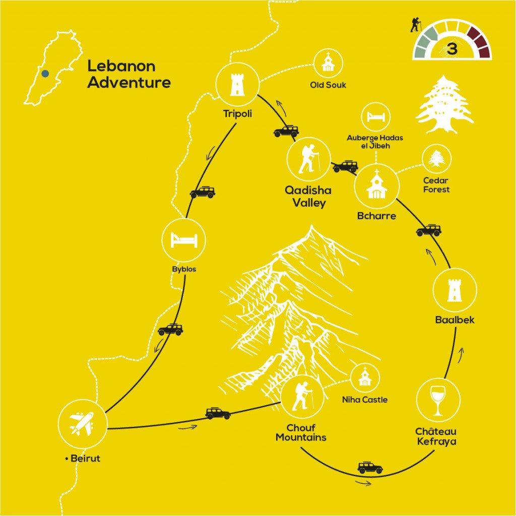 People & Landscapes of Lebanon, YellowWood Adventures Map