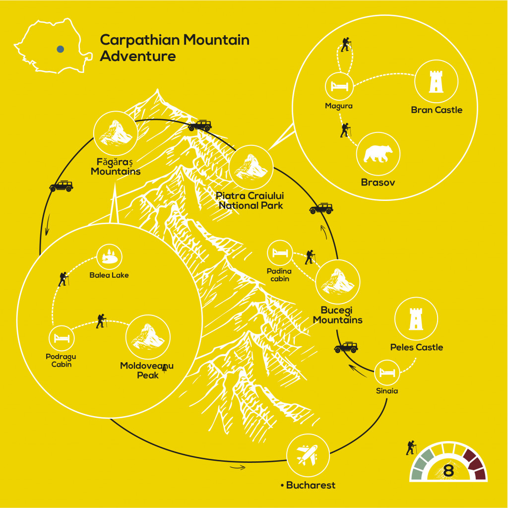 Carpathian Mountain Adventure, YellowWood Adventures Map