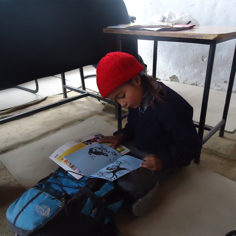 Pupil at remote village school in Ladakh, India