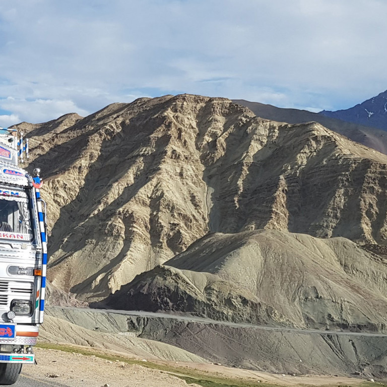Colourful transport on the road from Leh, Ladakh