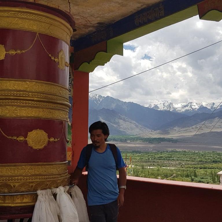 Prayer wheel, Thiksey Monastery, Ladakh