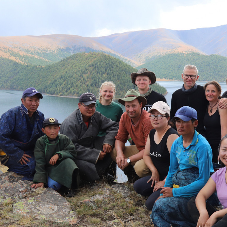Happy Group with local guides and horsemen, Mongolia