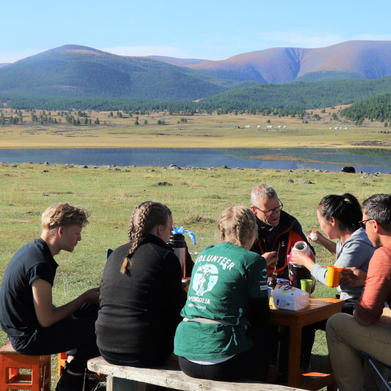 What a view for lunch! Naiman Nuur, Mongolia