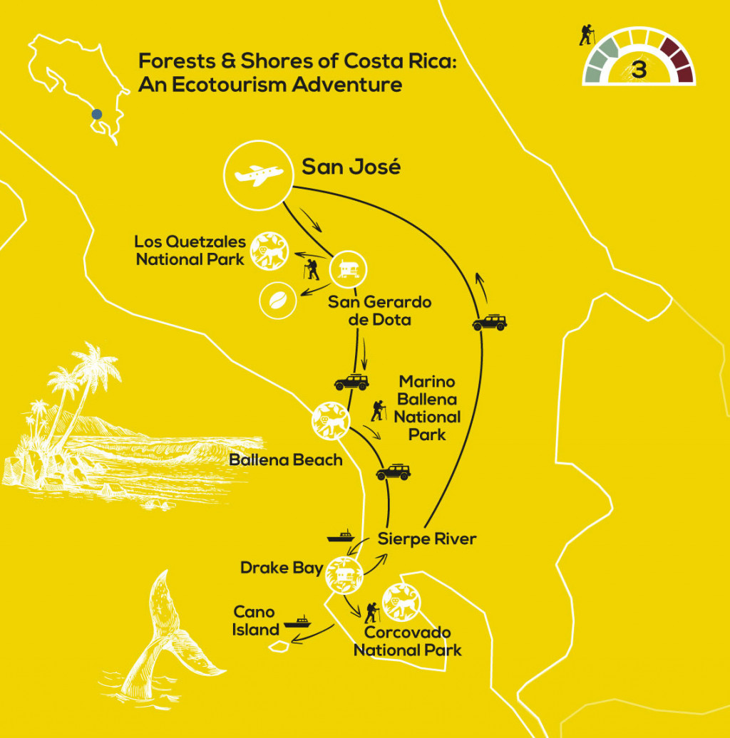 YellowWood Map - Forests & Shores of Costa Rica; an Ecotourism Adventure