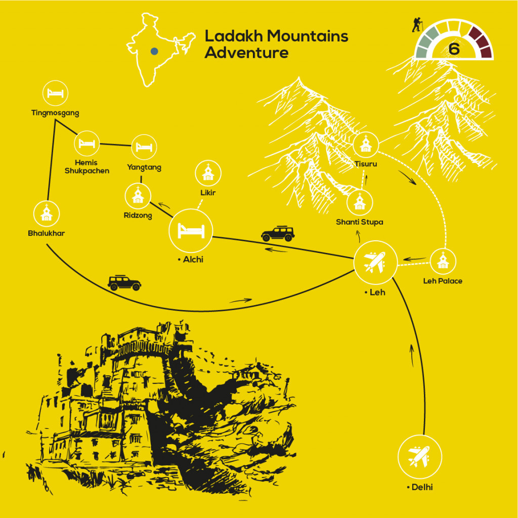 Hiking the High Monasteries of Ladakh, YellowWood Adventures Map
