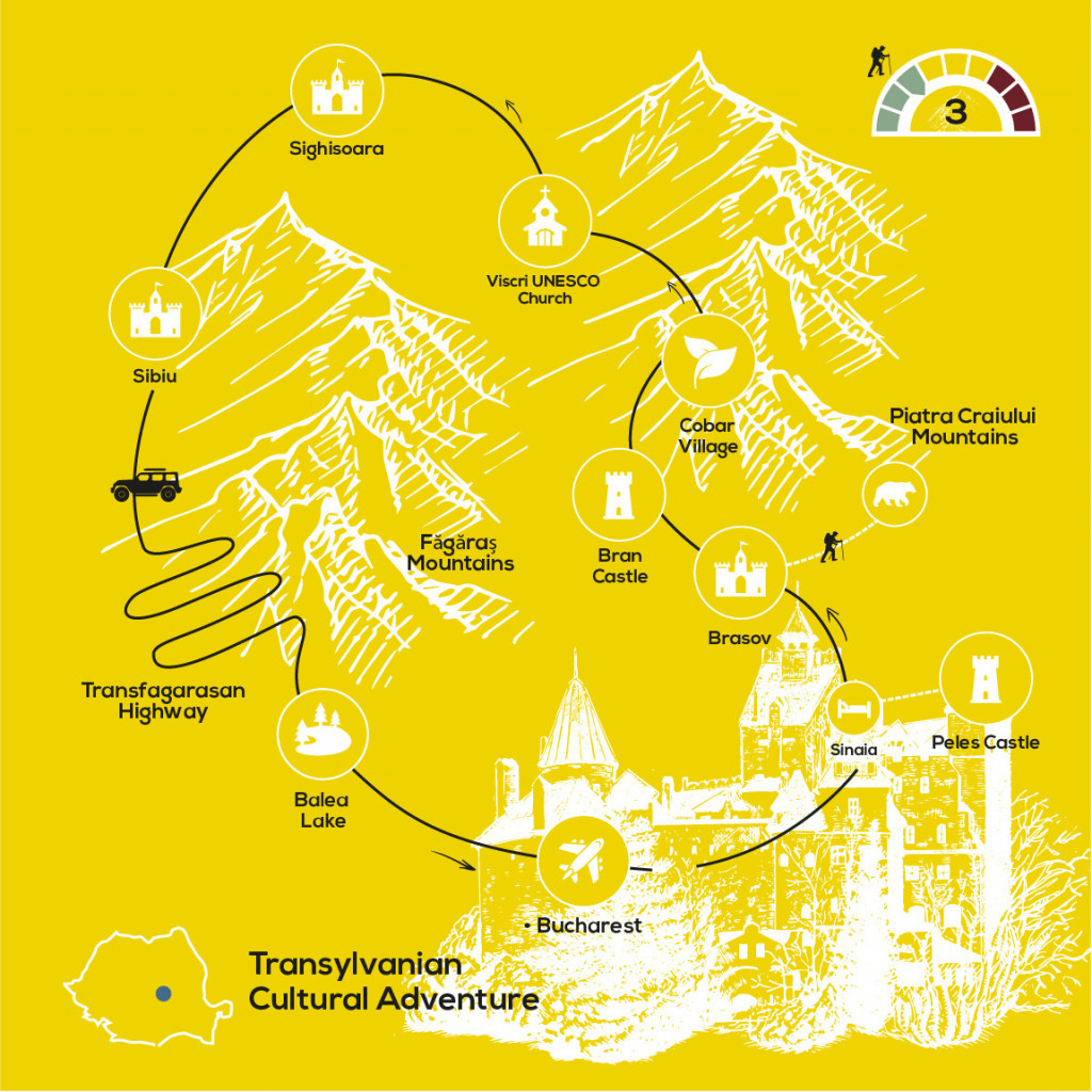 Transylvanian Heritage & Landscapes, YellowWood Adventures Map
