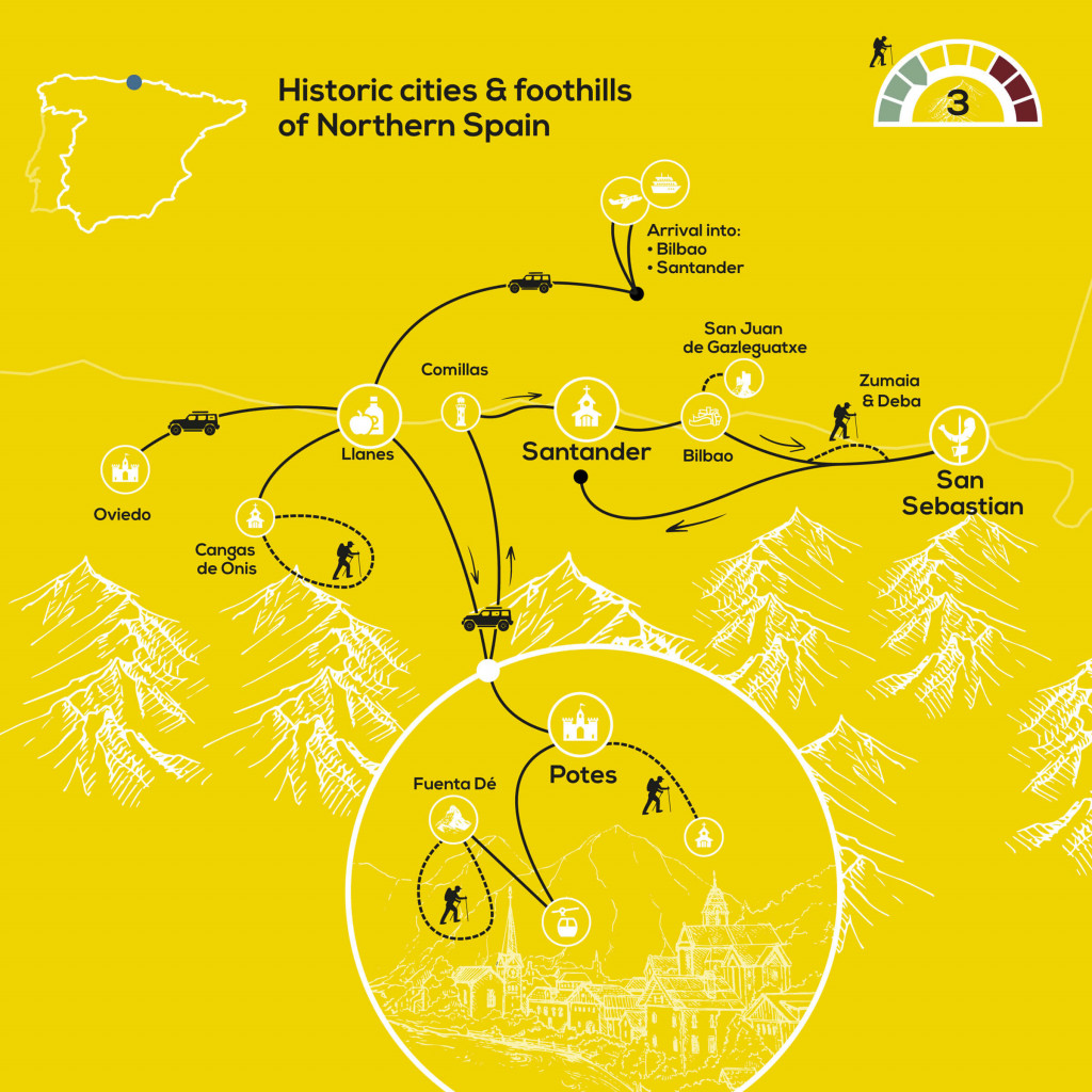 Historic Cities & Foothills of Northern Spain-map