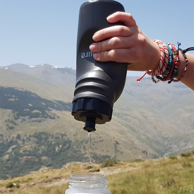 Aquapure Bottle being used in Kyrgyzstan