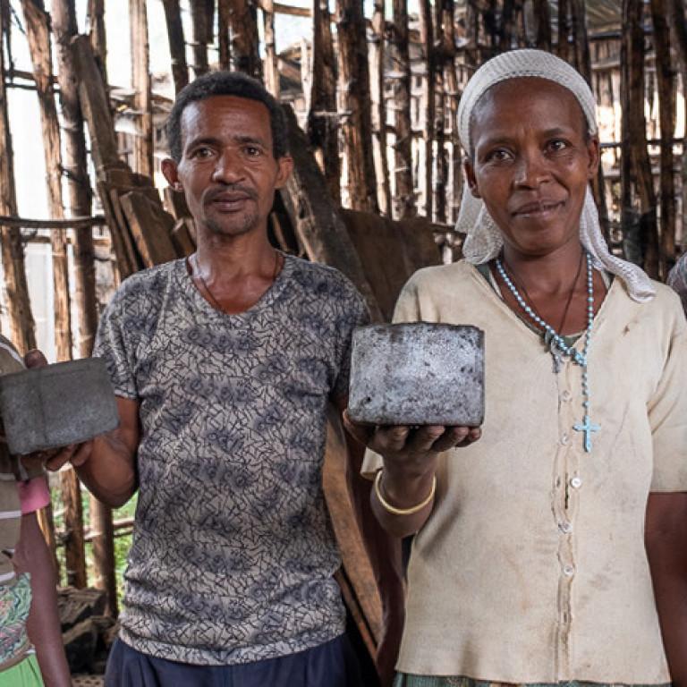 Making Charcoal Briquettes, Kafa Forest, Ethiopia