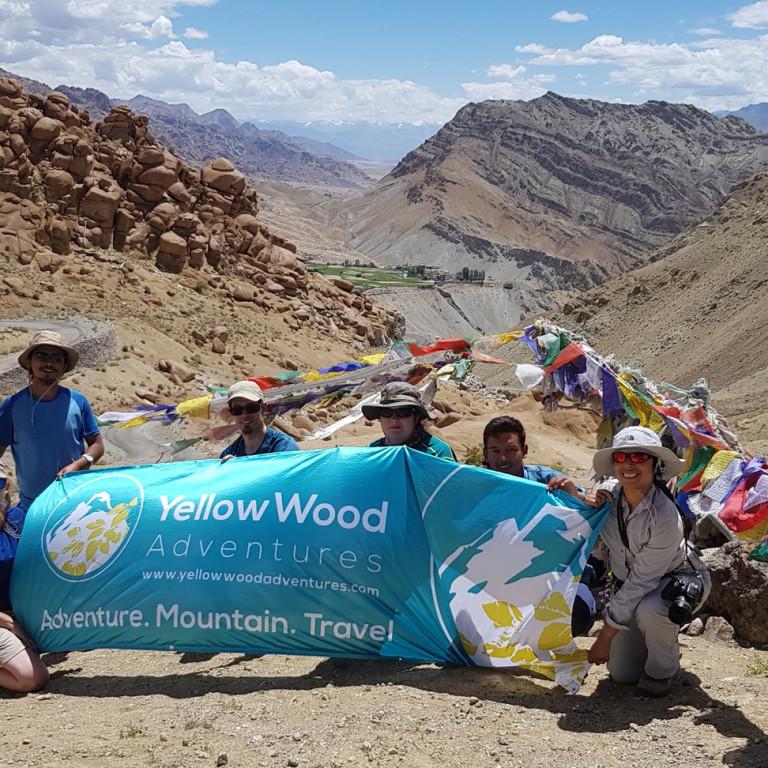 YellowWood flag and prayer flags, Hiking the High Monasteries of Ladakh