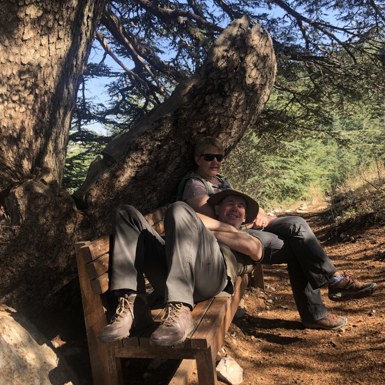 Relaxing under Cedar boughs, Lebanon