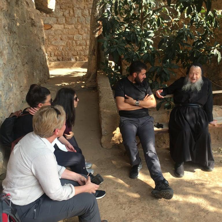 Chatting to the last hermit at Monastery, Qadisha Valley, Lebanon