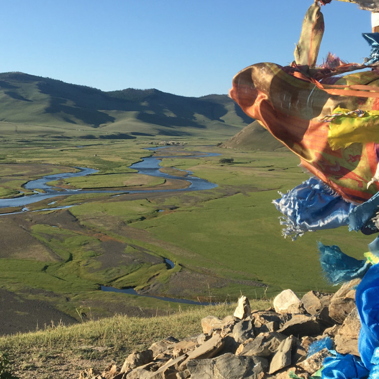 Prayer flags in the breeze, Mongolia
