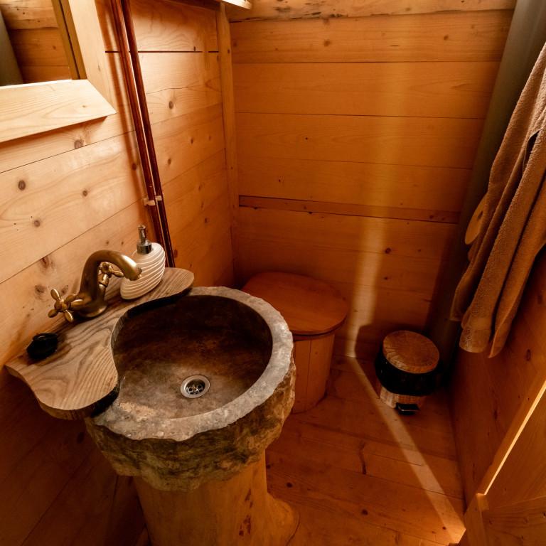 Rustic Cabin Bathroom-Wilderness Cabin Experience-Romania