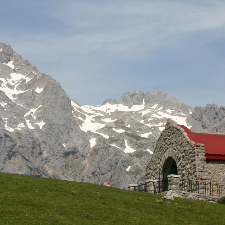 Red roofed chapel, Picos de Europa, Northern Spain